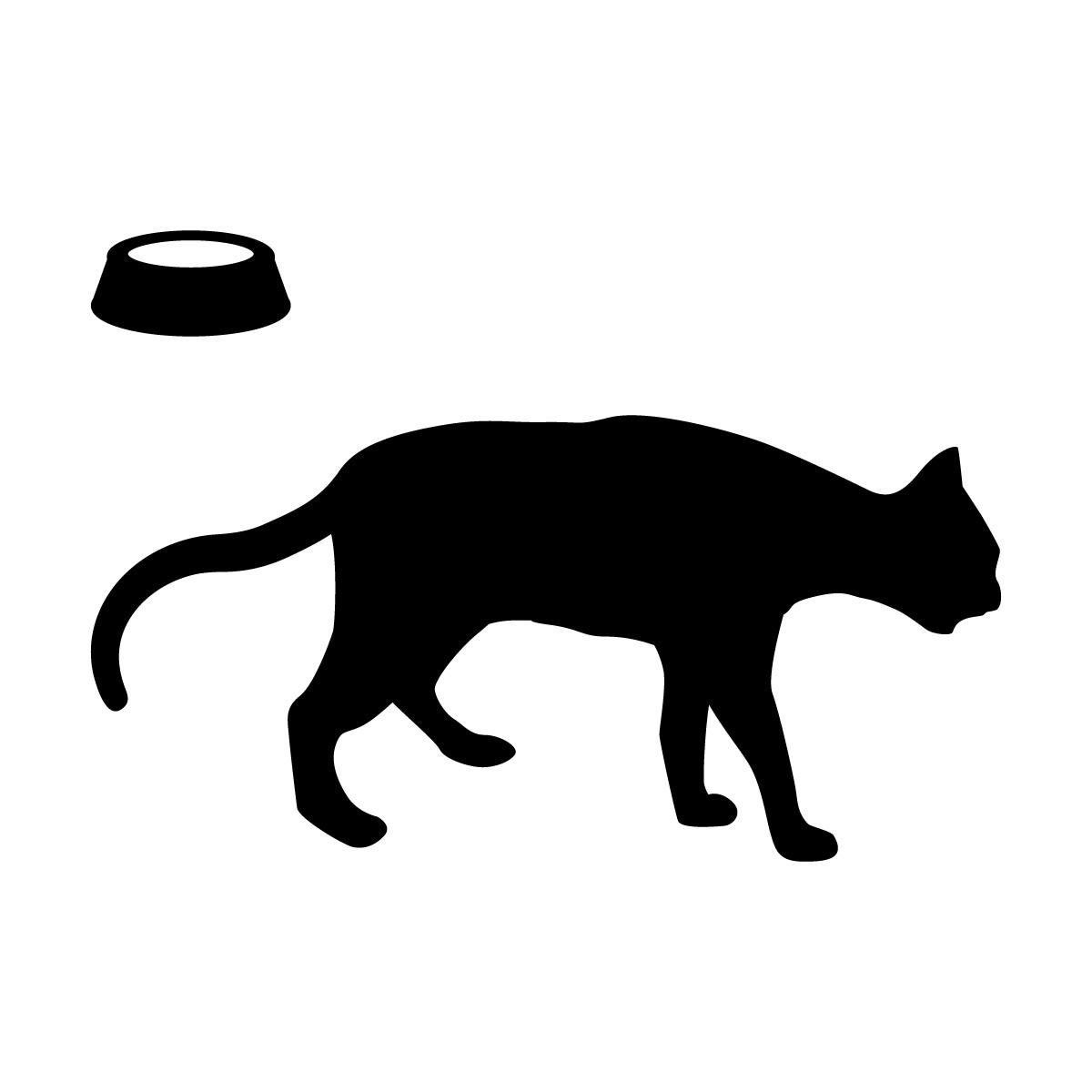 尻尾を下げて歩くネコ(お皿付き)のシルエットステッカー・シール