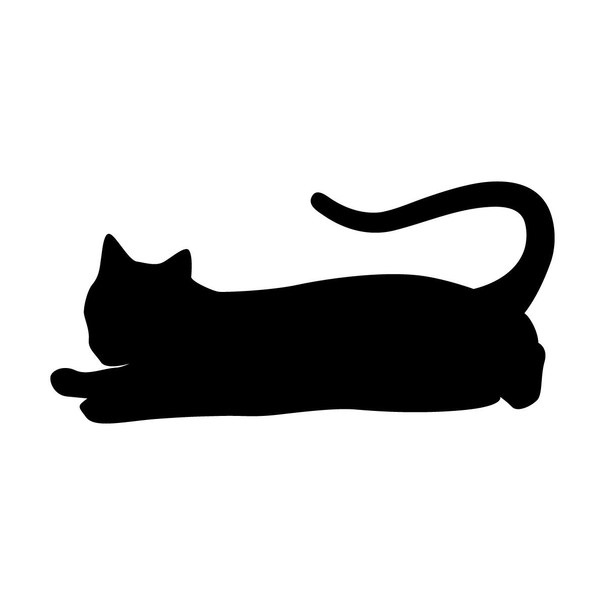 寝そべりくつろぐネコのシルエットステッカー・シール