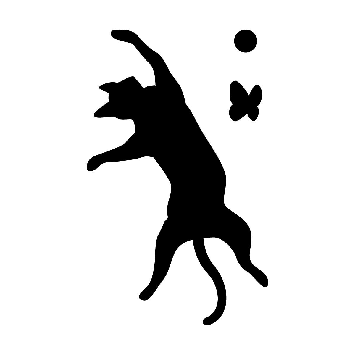 ジャンプする猫(蝶・ボール付き)のシルエットステッカー・シール