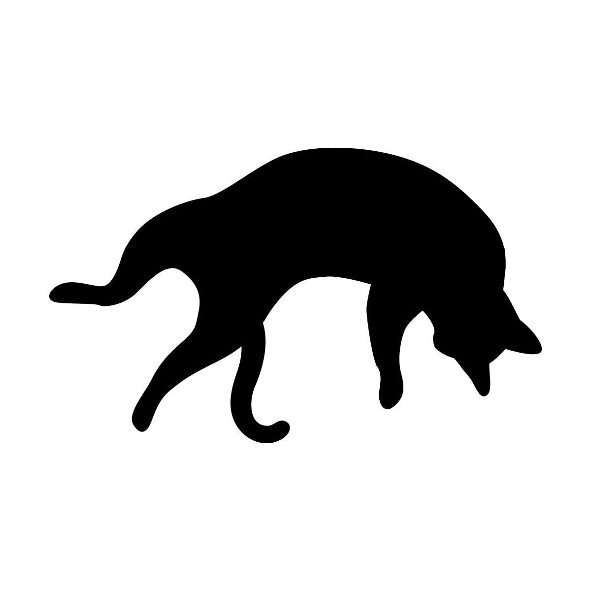 足を広げて寝る猫のシルエットステッカー・シール
