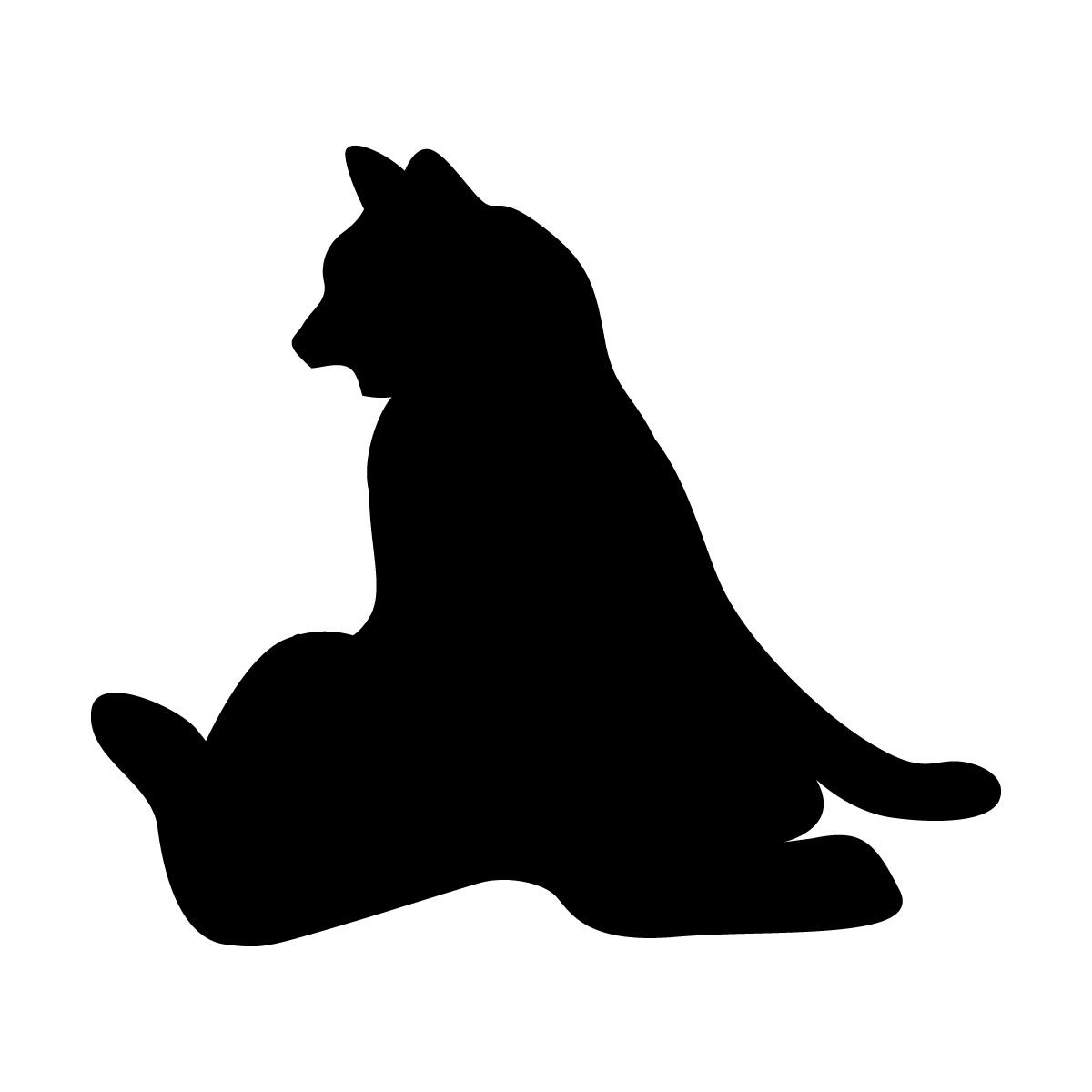 寄りかかって座るネコのシルエットステッカー・シール