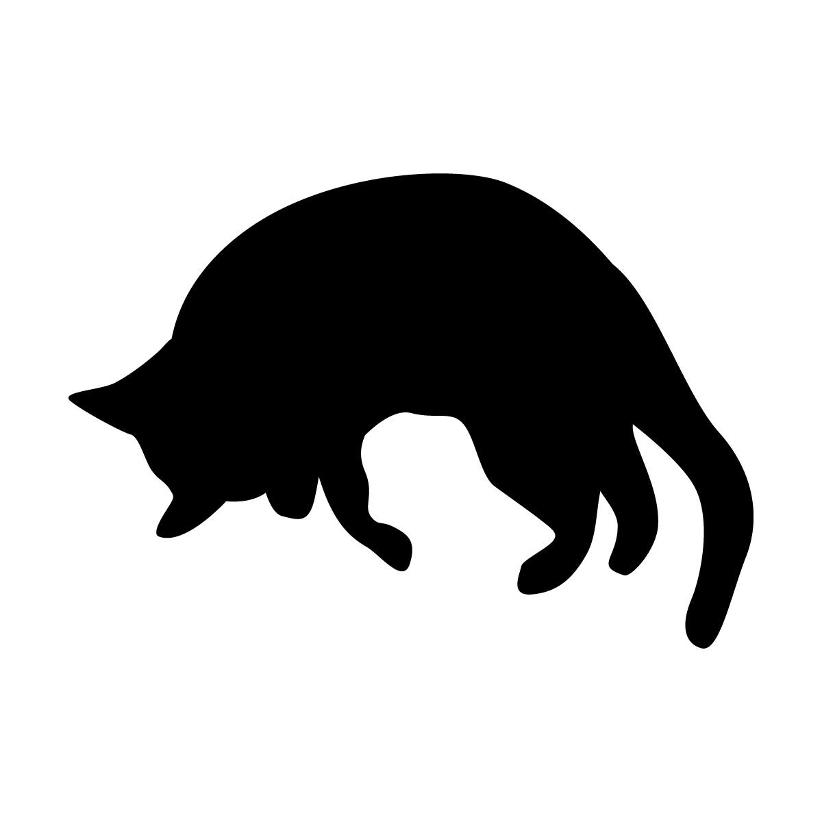 丸まったネコのシルエットステッカー・シール