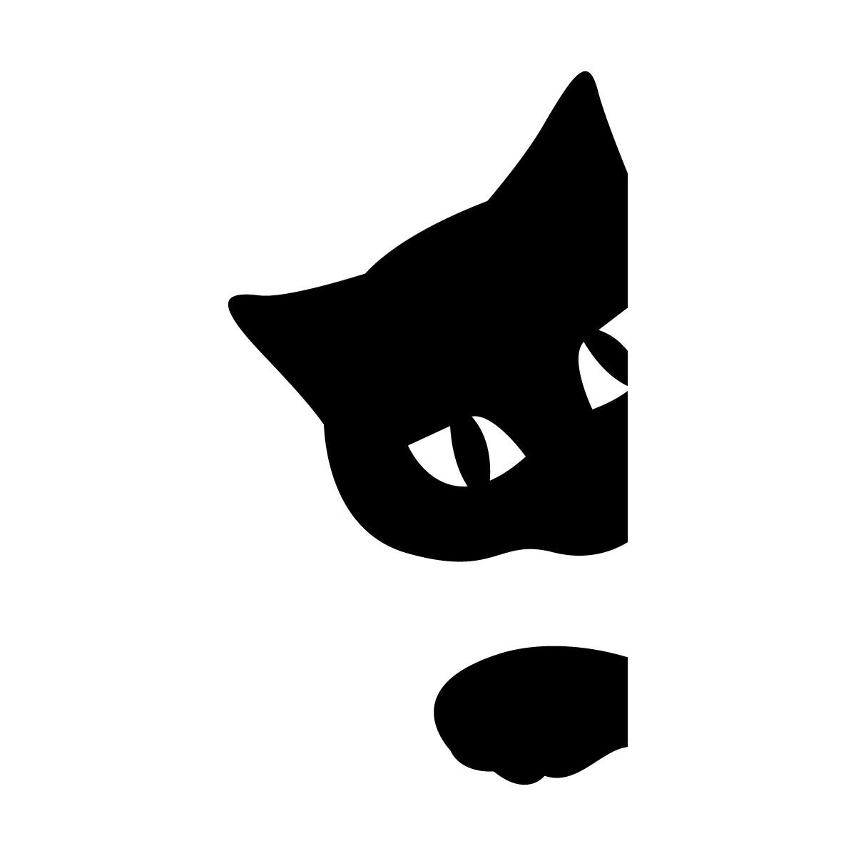 顔と手をちょっと出すネコのシルエットステッカー・シール