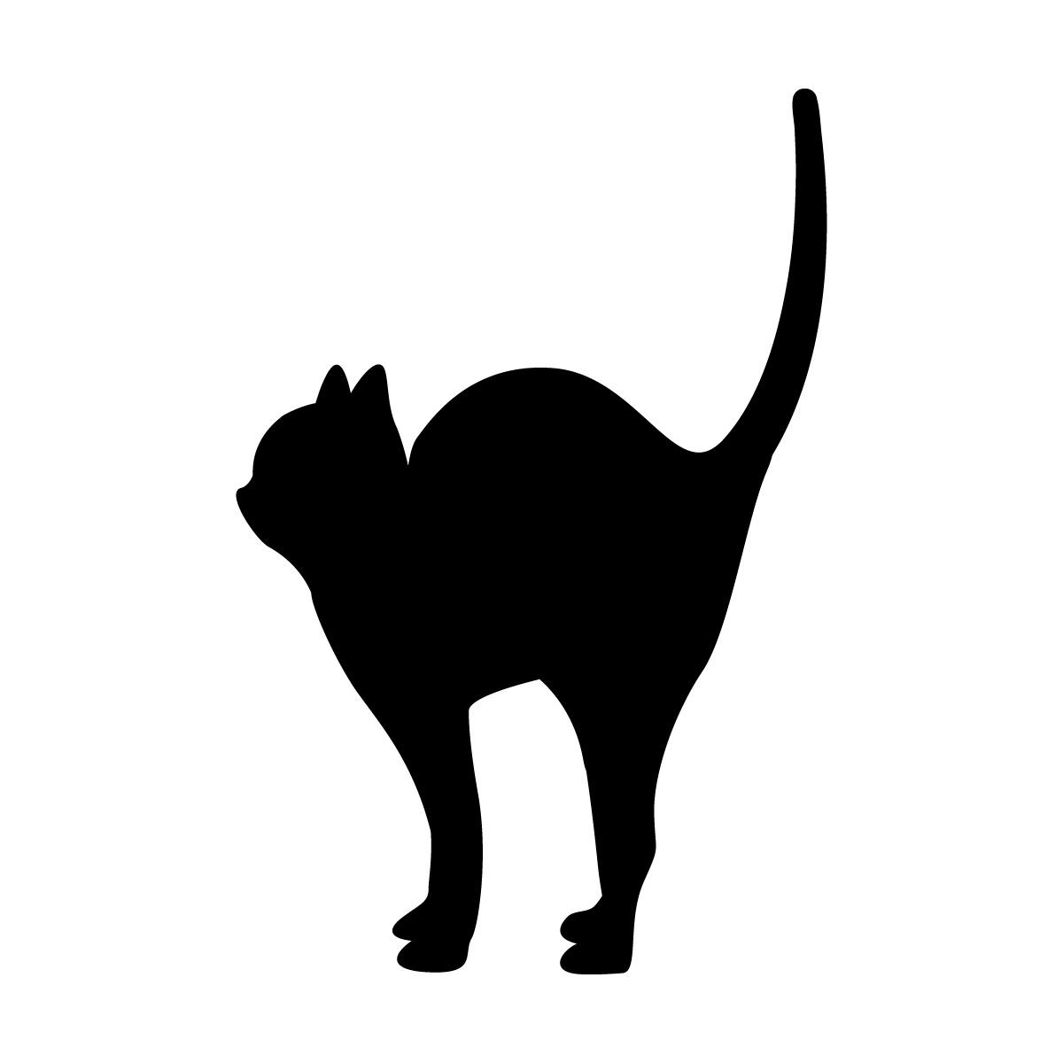 尻尾を立てるネコのシルエットステッカー・シール