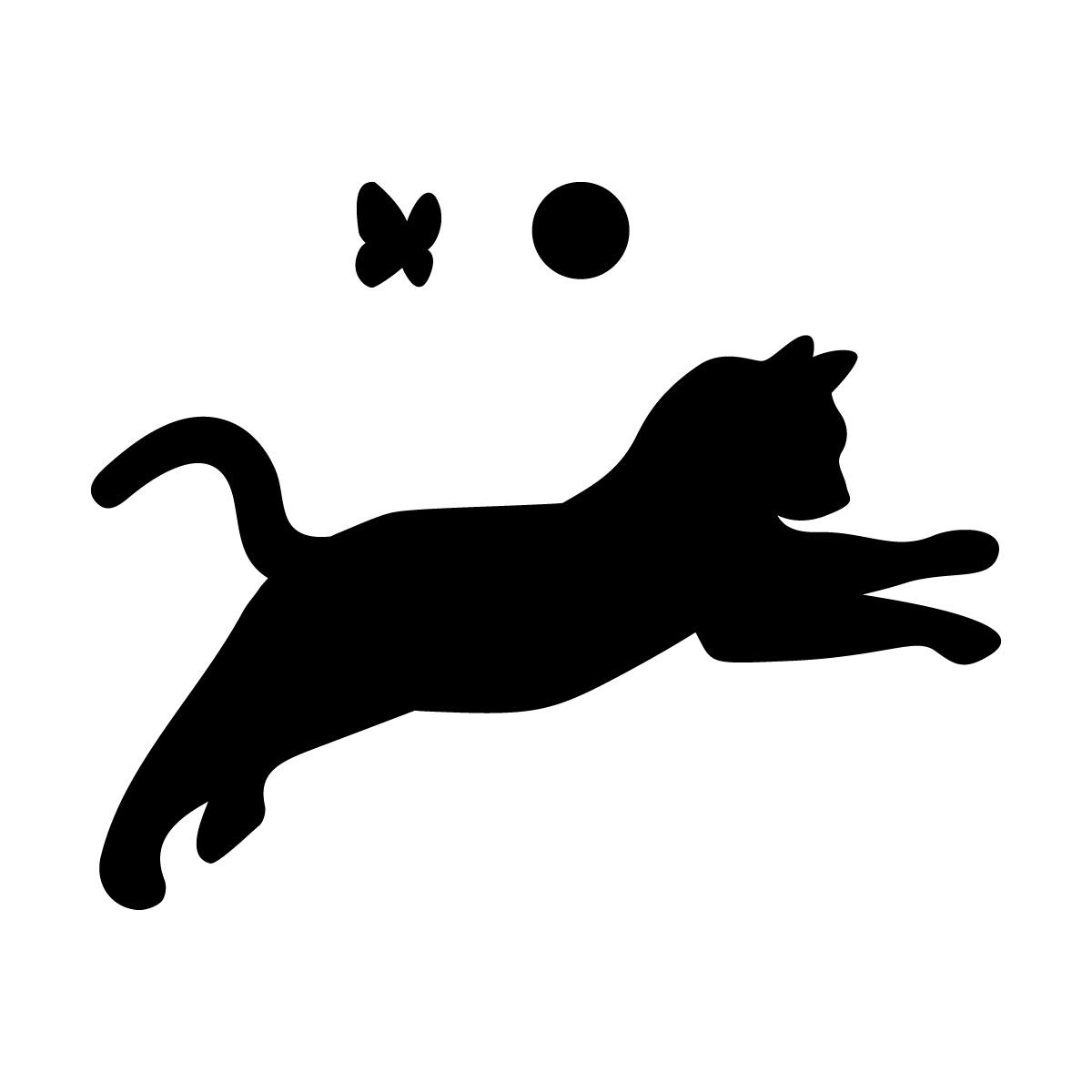 飛びかかるネコ(蝶・ボール付き)のシルエットステッカー・シール
