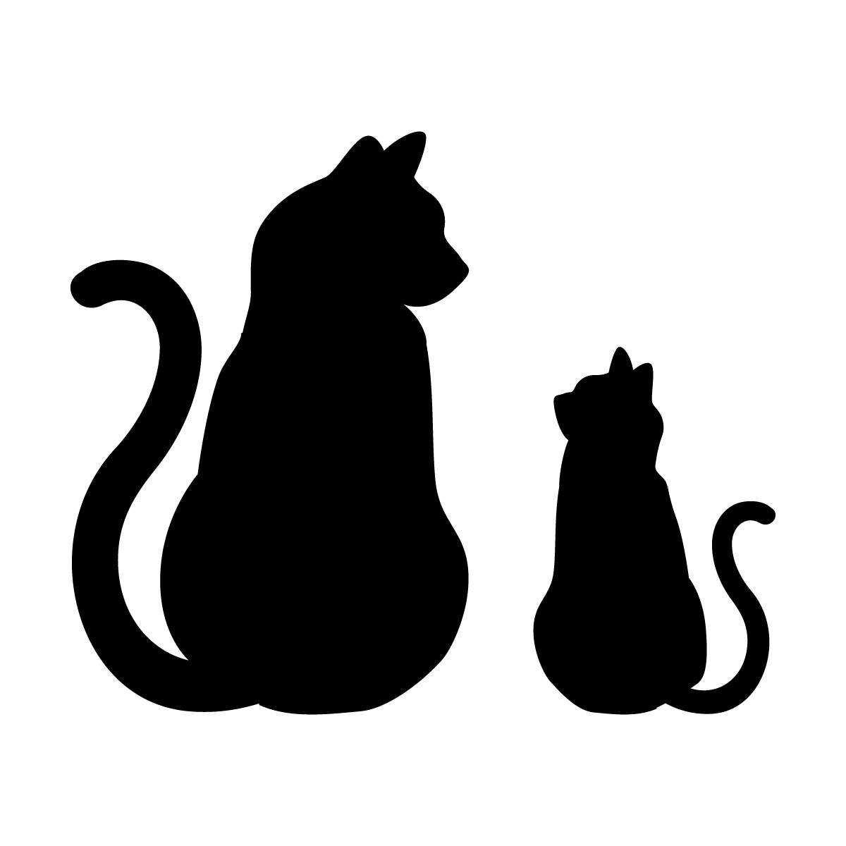 黒色の猫の親子 向き合うネコのポーズのシルエットステッカー・シール