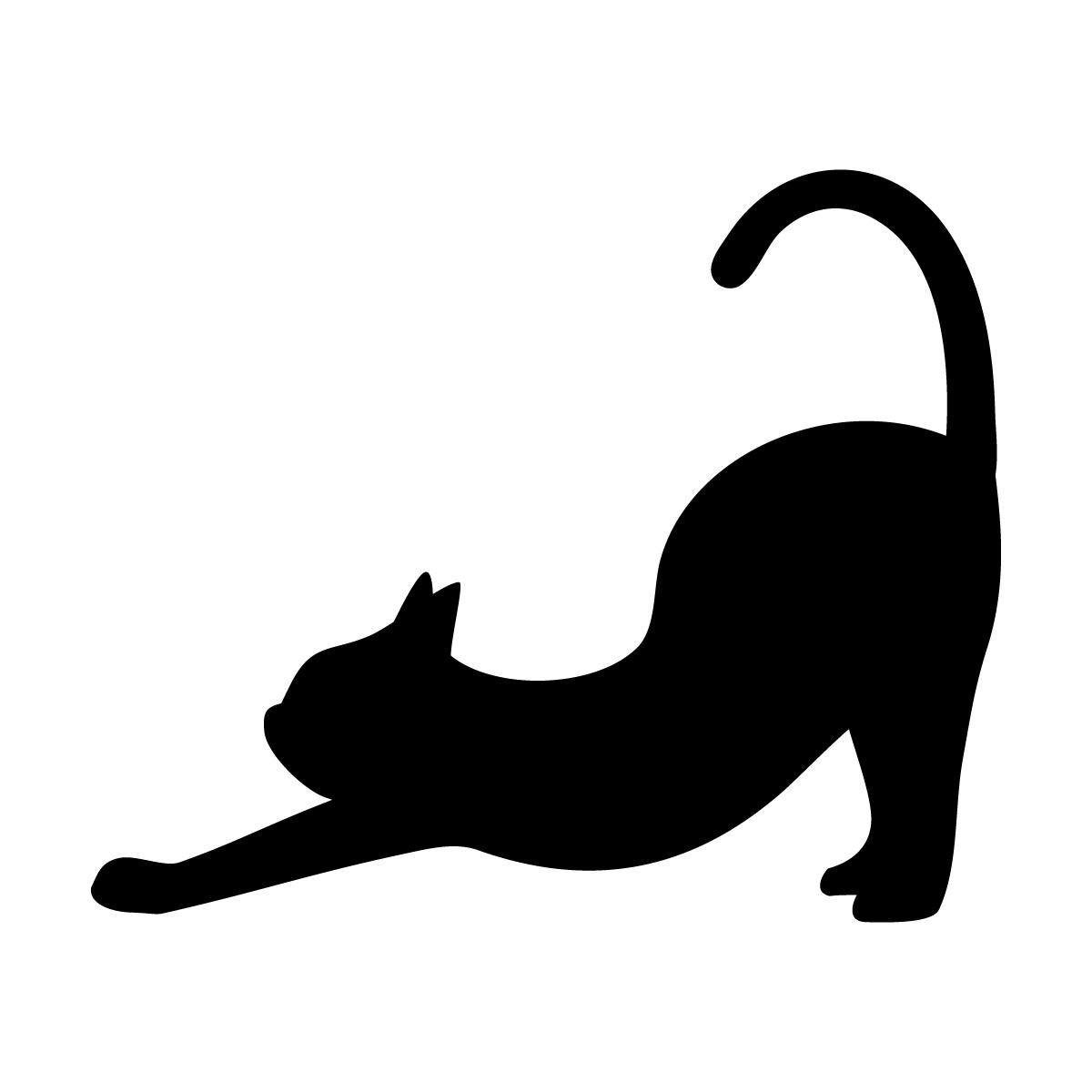 黒色の猫の背伸び(尻尾たち) ネコ ねこ キャット ヨガのポーズ・シルエット ステッカー・シール 光沢タイプ・耐水・屋外耐候3~4年
