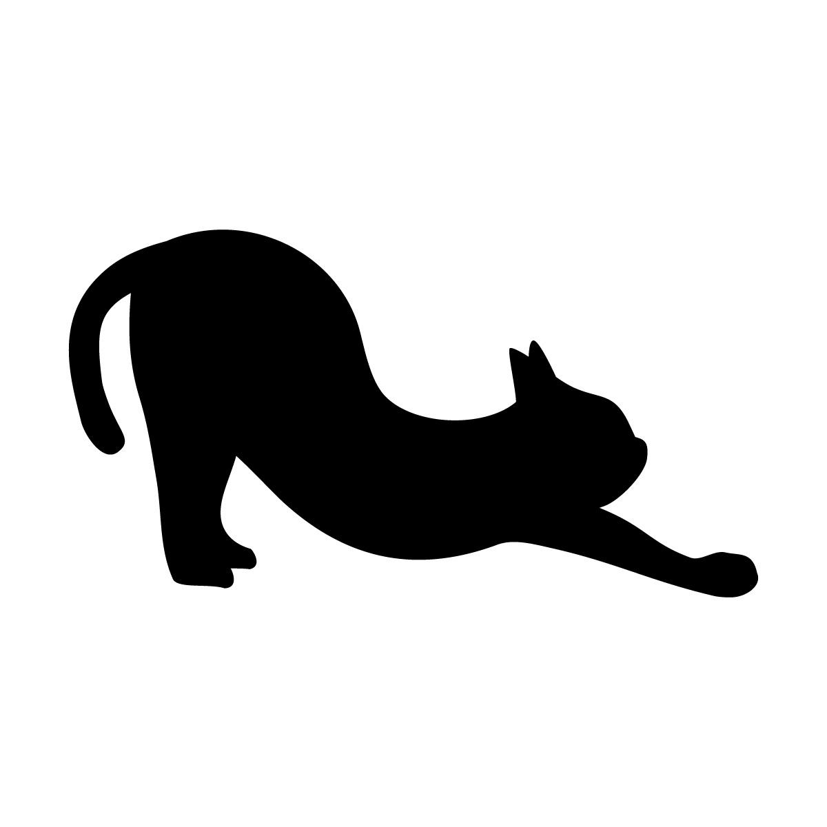 猫の背伸び(尻尾 寝)のポーズのシルエットステッカー・シール
