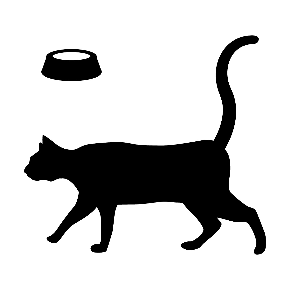 尻尾をあげて優雅に歩くネコ(お皿付き)のシルエットステッカー・シール