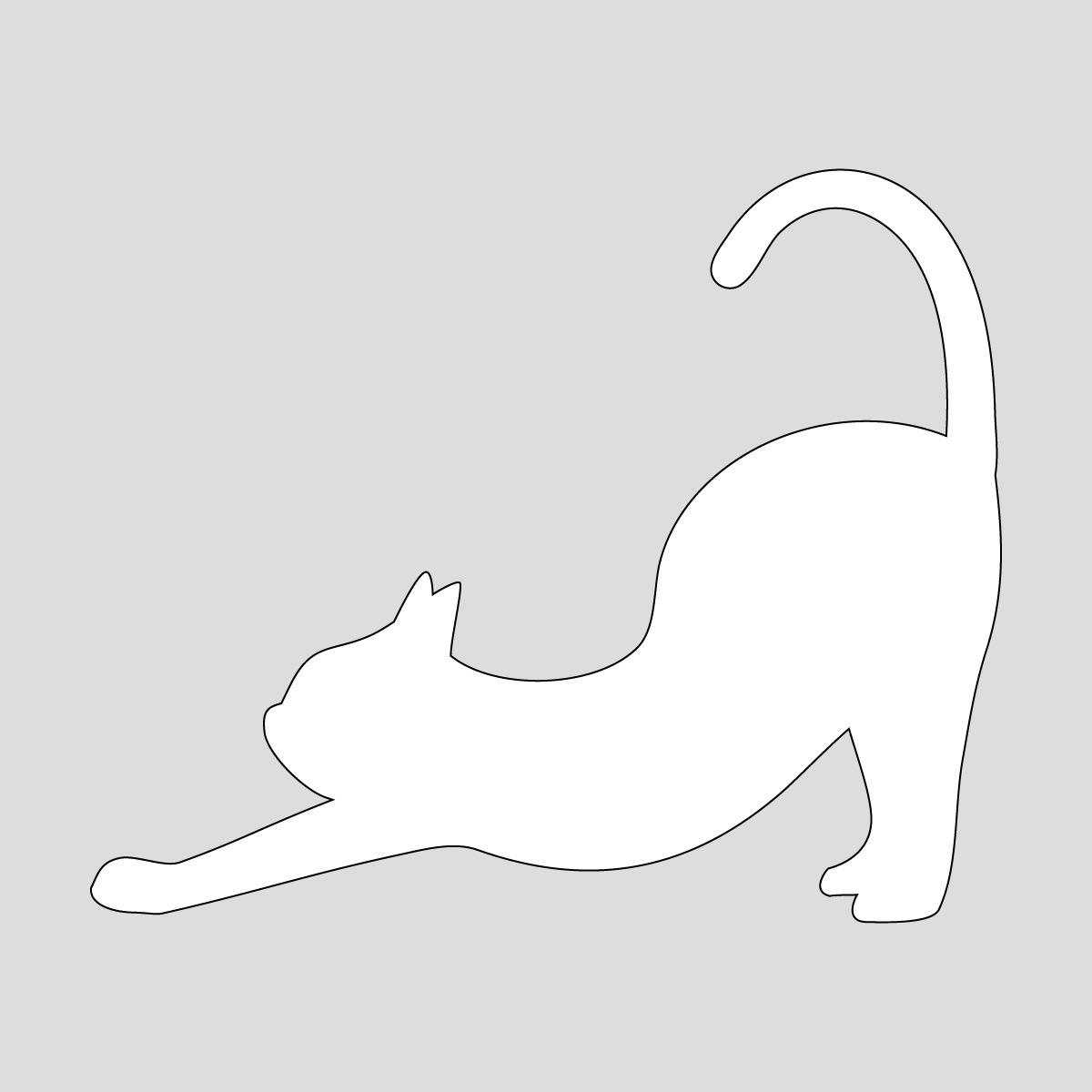 白色の猫の背伸び(尻尾たち) ネコ ねこ キャット ヨガのポーズ・シルエット ステッカー・シール 光沢タイプ・耐水・屋外耐候3~4年