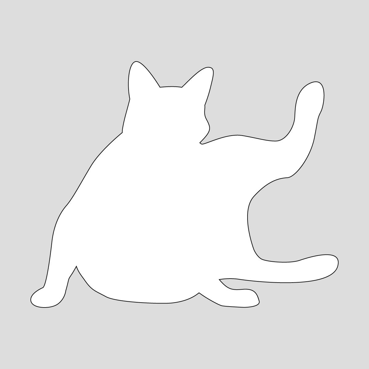 白色の足を広げて寝る猫のシルエットステッカー・シール