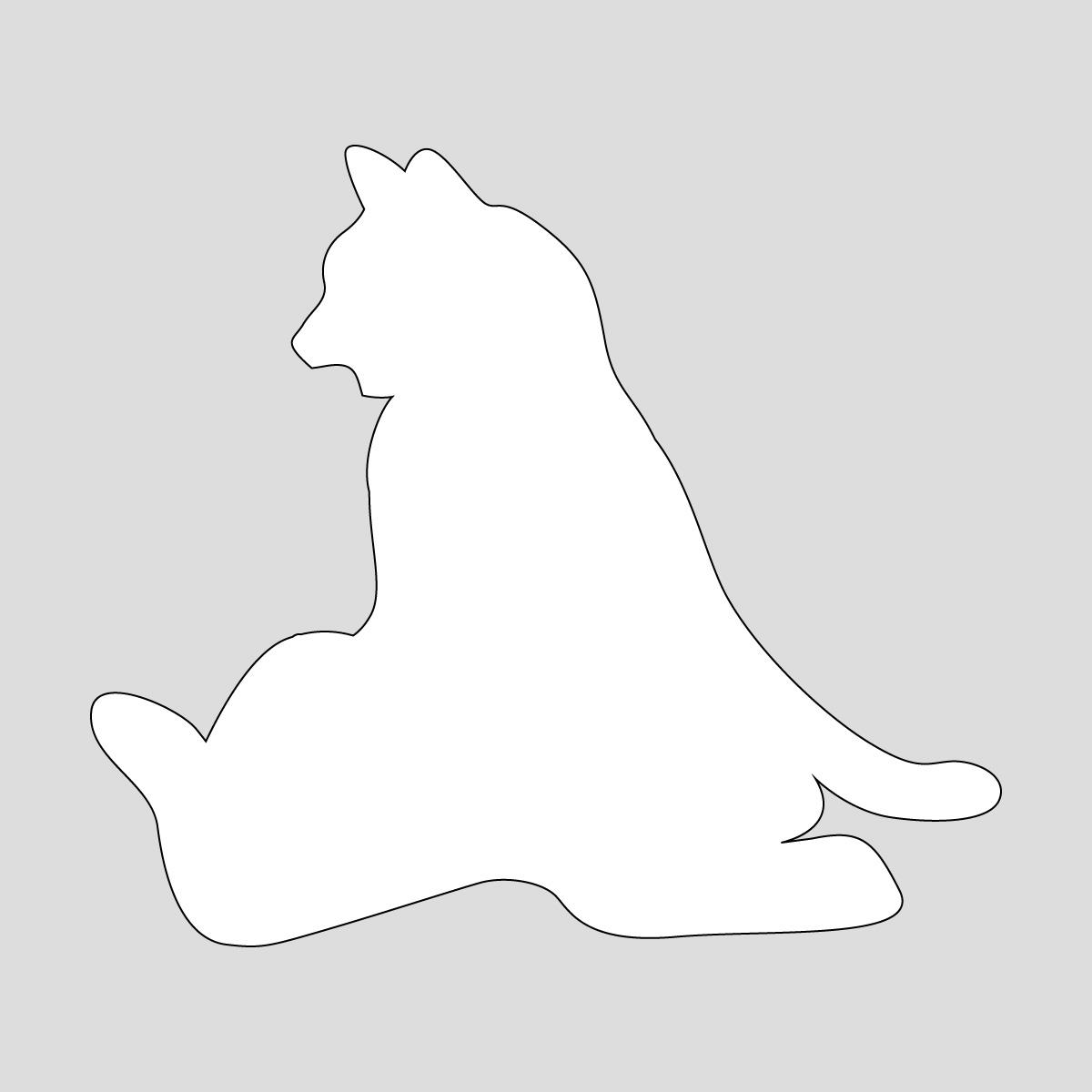 白色の猫のシルエットステッカー 寄りかかって座るネコ ねこ キャット ポーズ シール