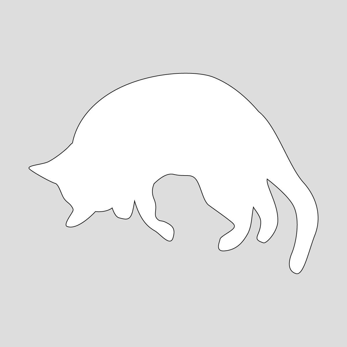 白色の猫のシルエットステッカー 丸まったネコ ねこ キャット ポーズ シール