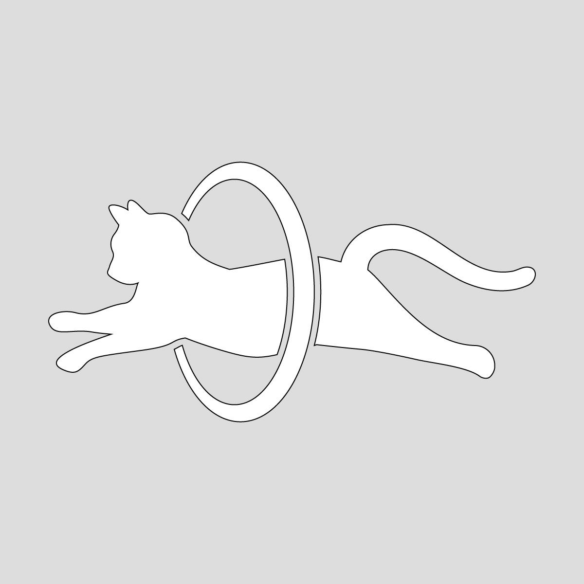 白色のジャンプして輪っかをくぐるネコ ねこ キャット ポーズ シール