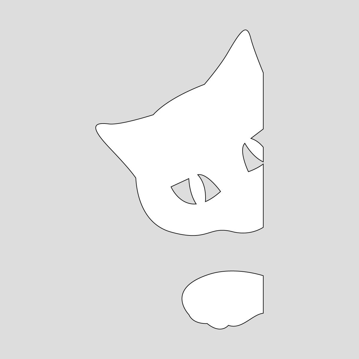 白色の顔と手をちょっと出すネコ ねこ キャット ポーズ シール