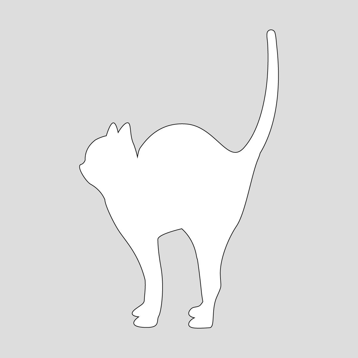 白色の尻尾を立てるネコ ねこ キャット ポーズ シール