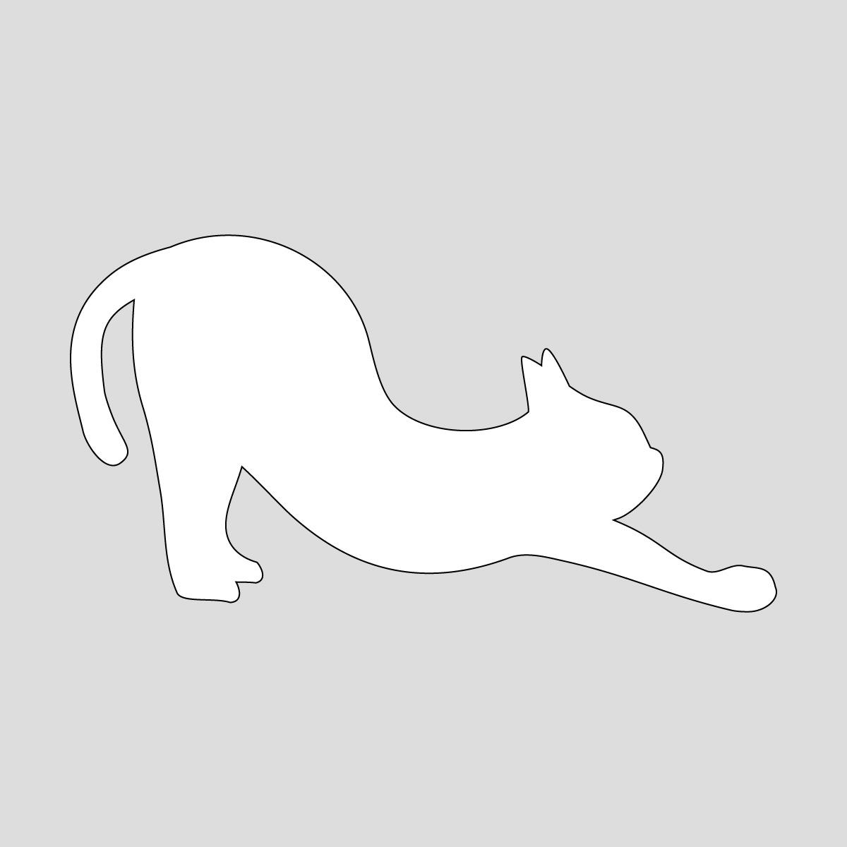 白色の猫の背伸び(尻尾 寝) ネコ ねこ キャット ヨガのポーズ・シルエット ステッカー・シール