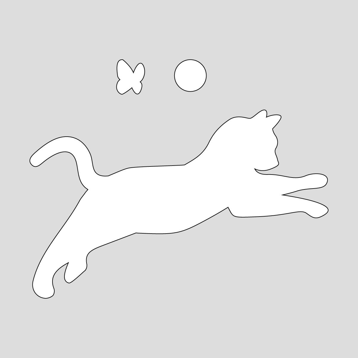 白色の飛びかかるネコ(蝶・ボール付き) ねこ キャット ポーズ シール