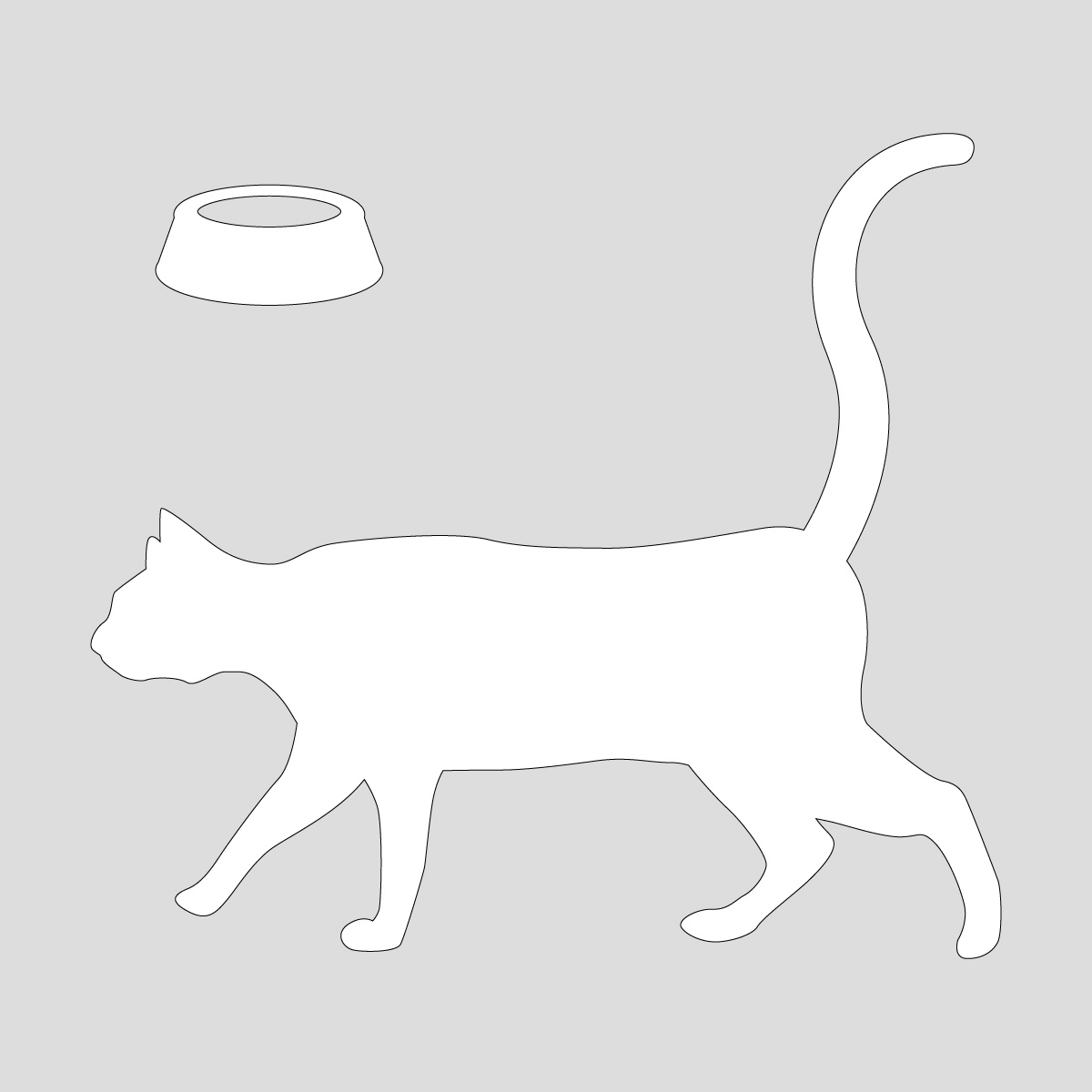 白色の尻尾をあげて優雅に歩くネコ(お皿付き) ねこ キャット ポーズ シール