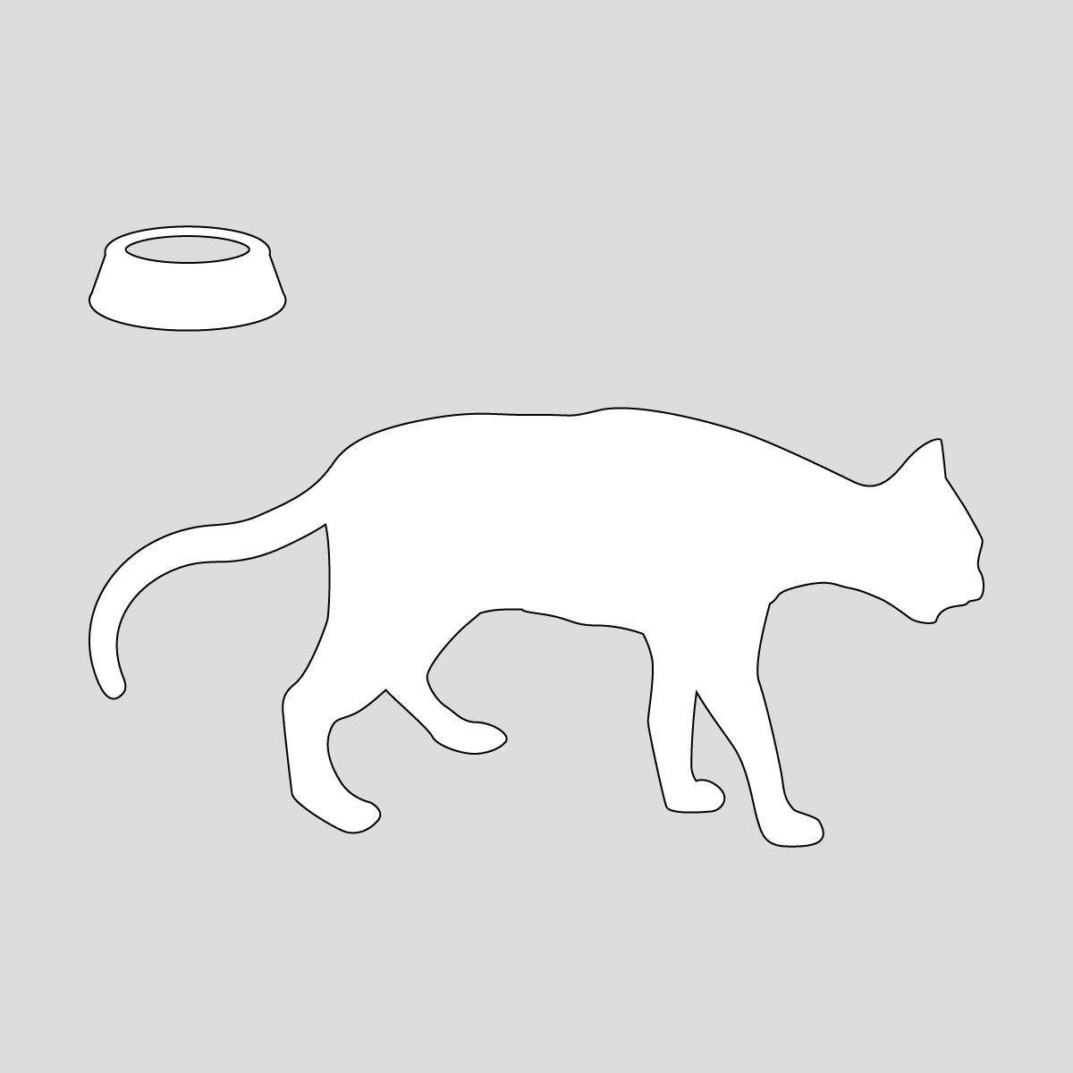 白色の尻尾を下げて歩くネコ(お皿付き) ねこ キャット ポーズ シール