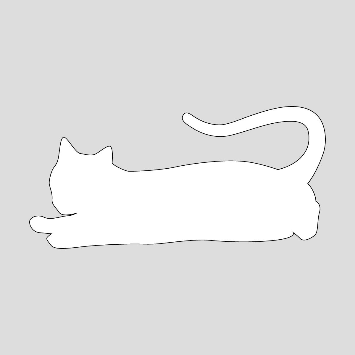 白色の猫のシルエットステッカー 寝そべるネコ ねこ キャット ポーズ シール