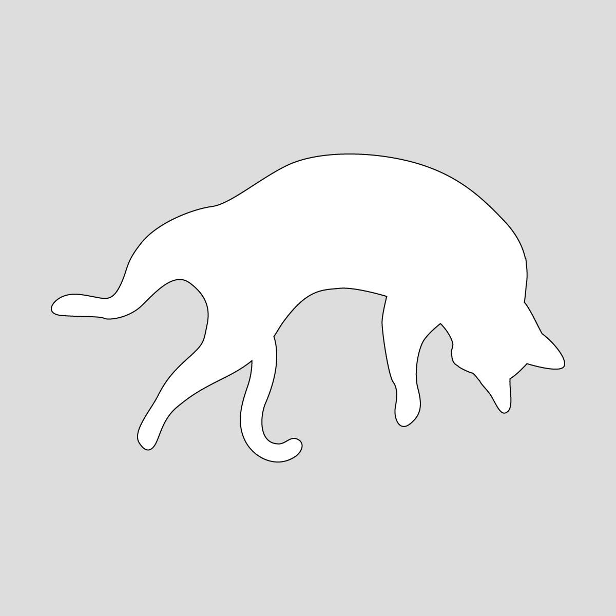 白色の足を広げて寝るネコ ねこ キャット ポーズ シール