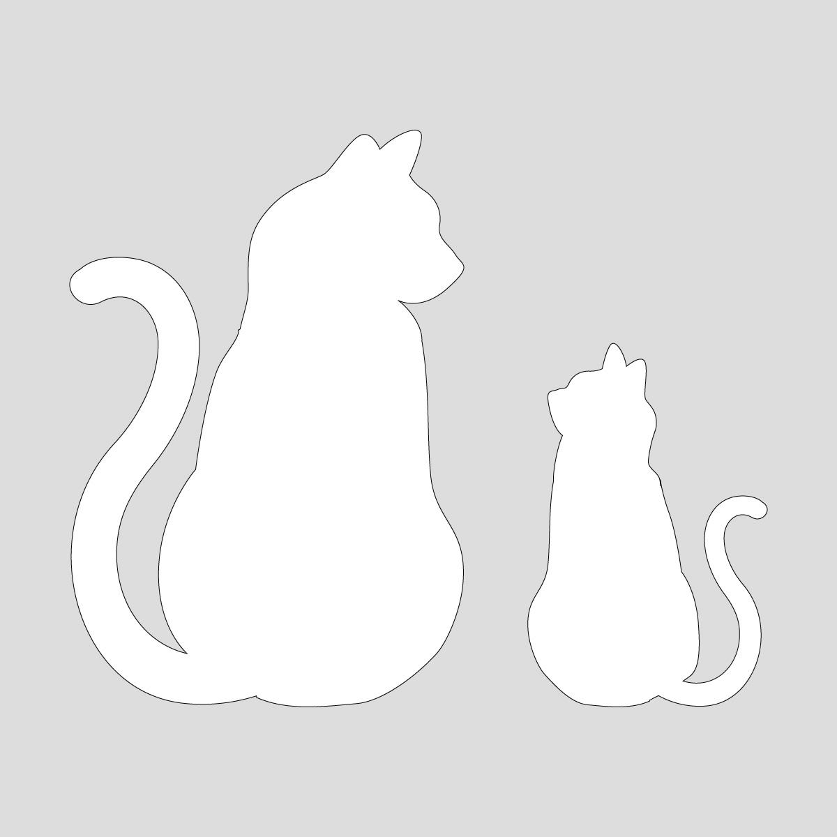 白色の猫の親子 向き合うネコのポーズのシルエットステッカー・シール